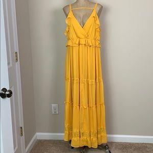 Torrid Gold Layered Maxi Dress Size 1 EUC XL